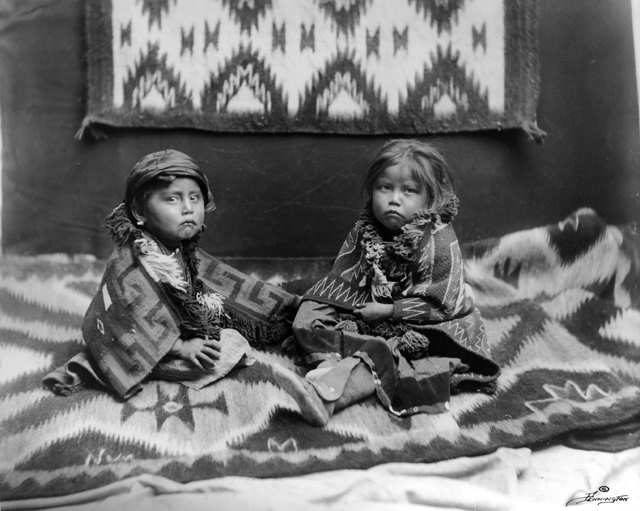 navajo rug and children